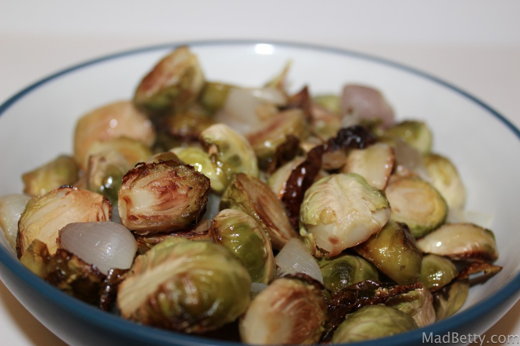 Roasted sprouts and shallots
