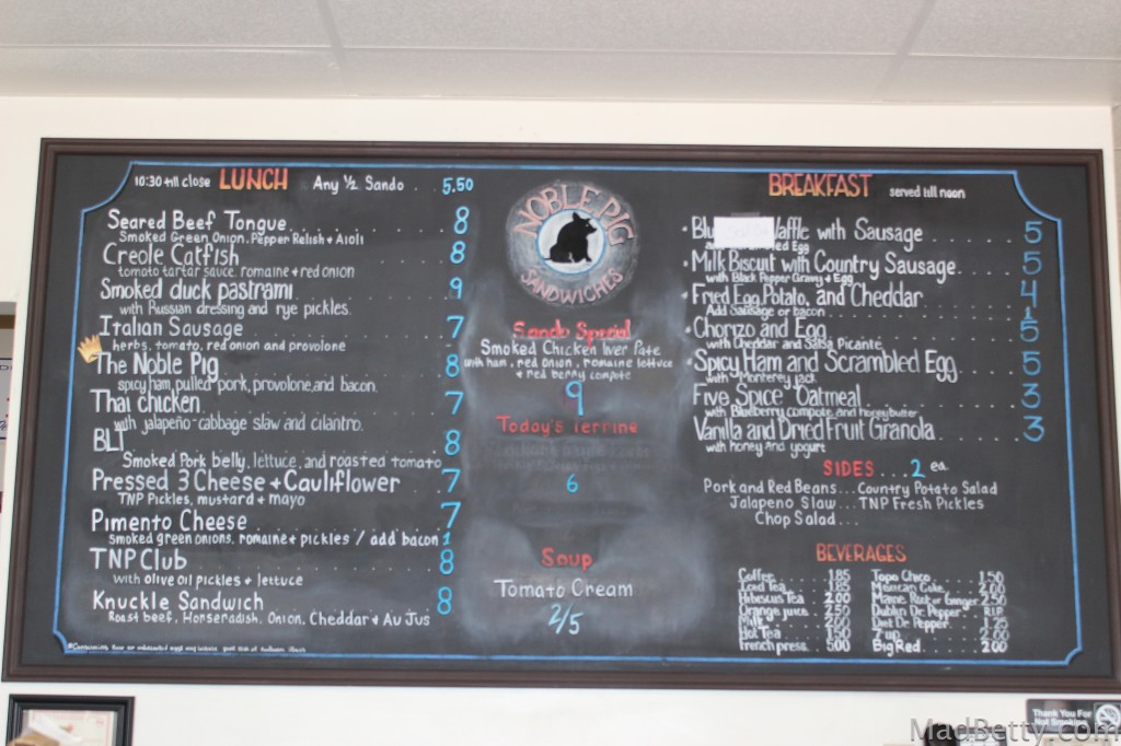 Noble Pig menu board
