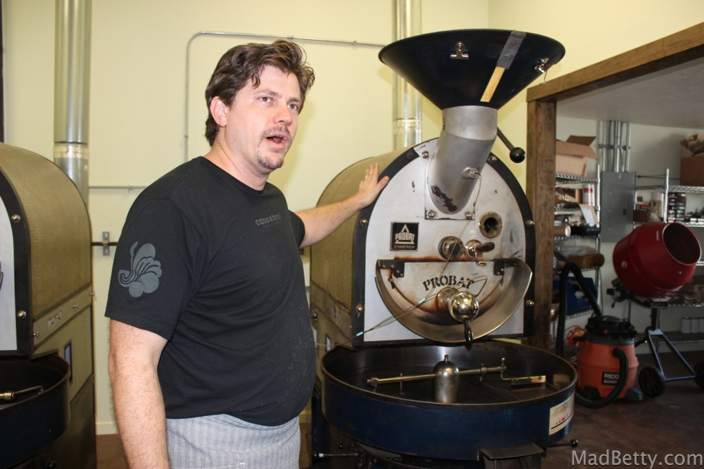 Joel Shuler roasting coffee