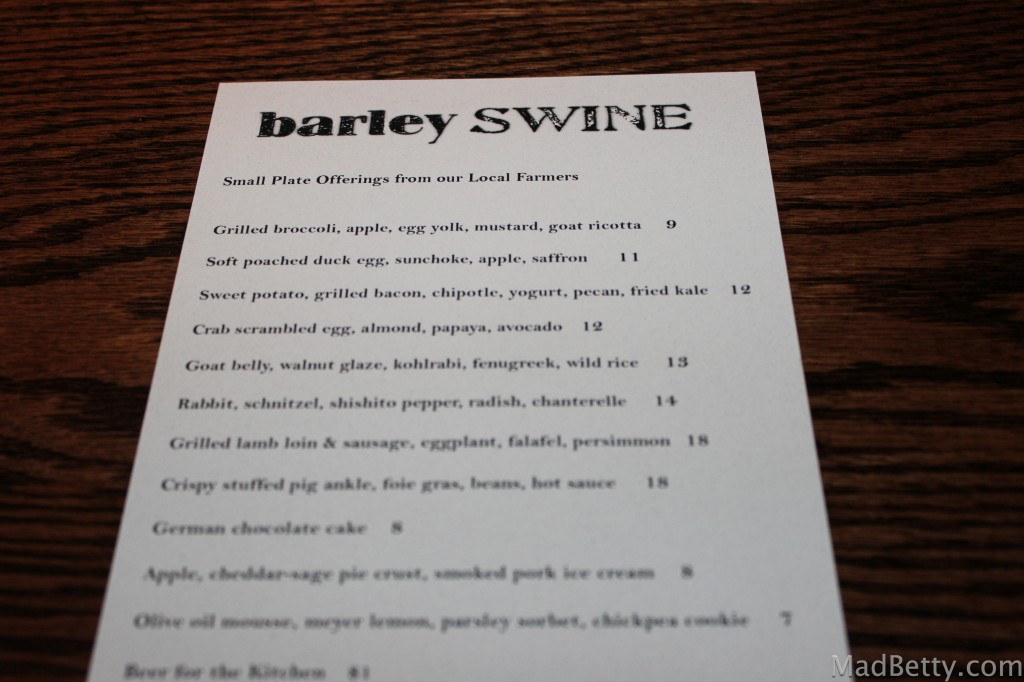 Barley Swine Menu