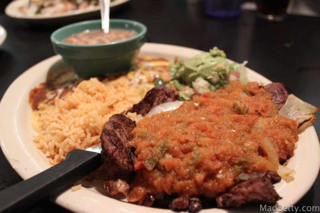Mexican style steak with rice, beans and guacamole