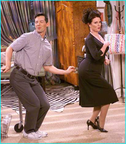 Sean Hayes and Megan Mullally as Jack and Karen on Will and Grace