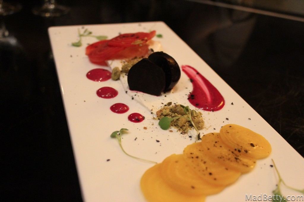 Trio of beets with goat cheese, pistachios and a beet vinaigrette