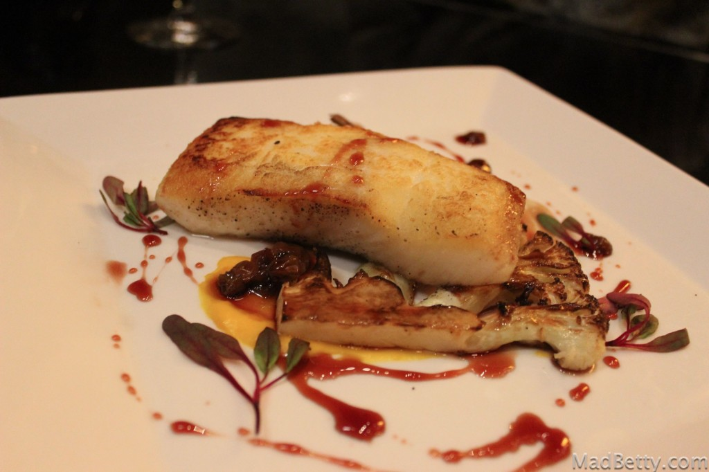 Halibut with roasted cauliflower, butternut squash, raisins and verjus