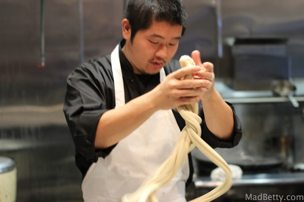 Hand-pulling noodles at Xian Sushi and Noodle