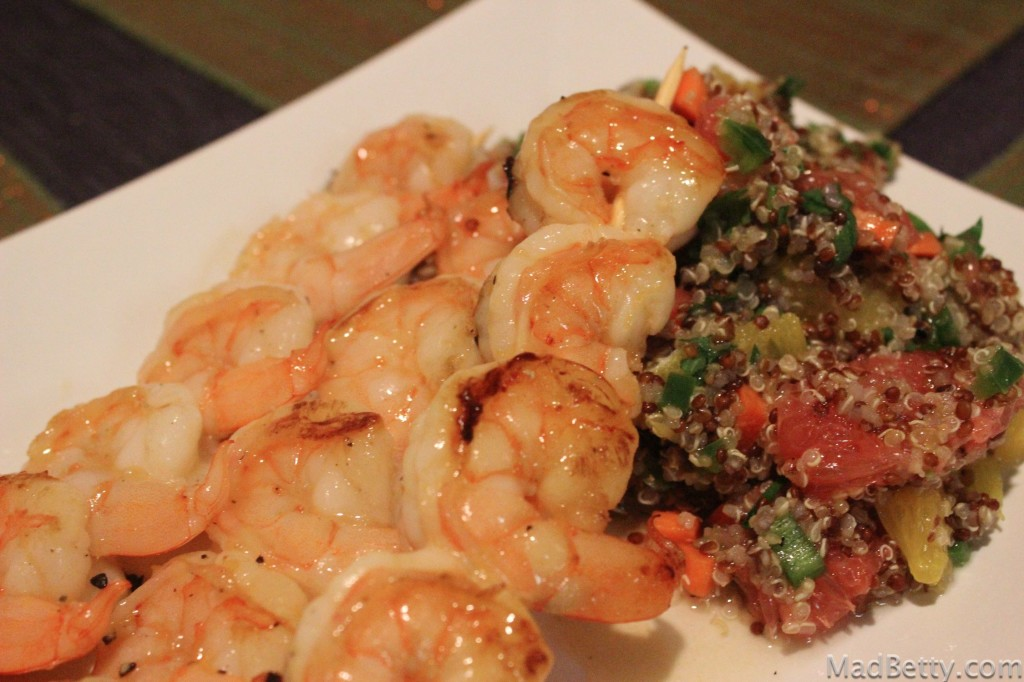 Grapefruit Glazed Shrimp and Quinoa Salad