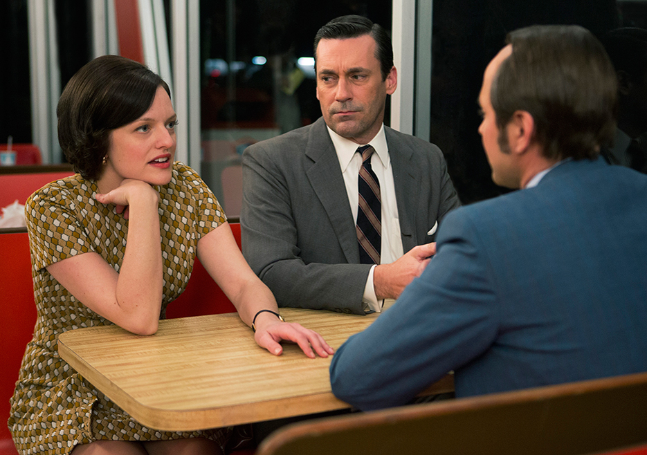 Peggy, Don, and Pete at Burger Chef, Mad Men