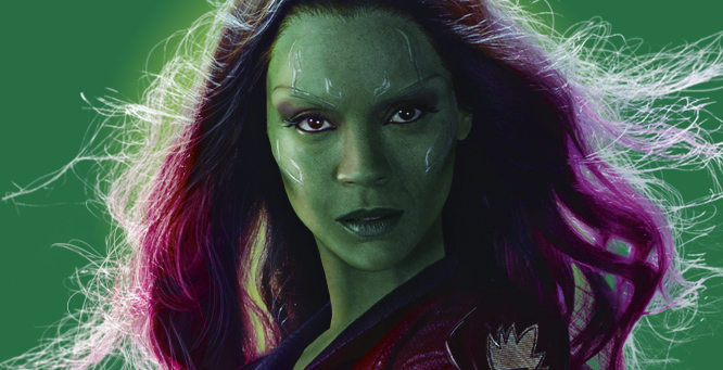 Gamora played by Zoe Saldana in Guardians of the Galaxy