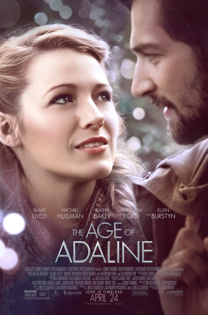 The Age of Adaline movie poster featuring Blake Lively and Harrison Ford