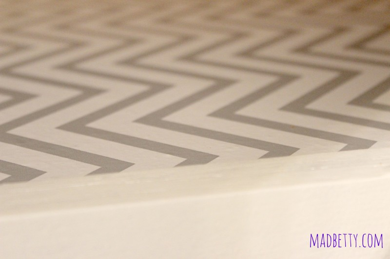 Chevron contact paper in cabinets