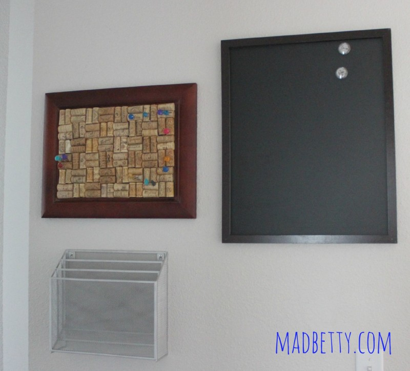 Family Command Center with corkboard, magnetic chalkboard and file organizer
