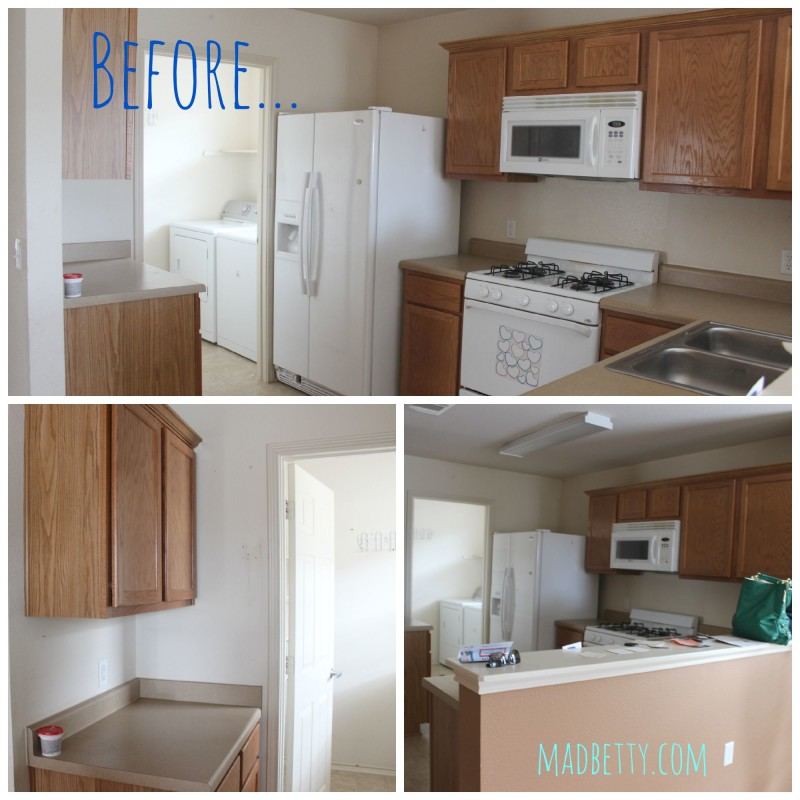 Before pictures of a kitchen home renovation