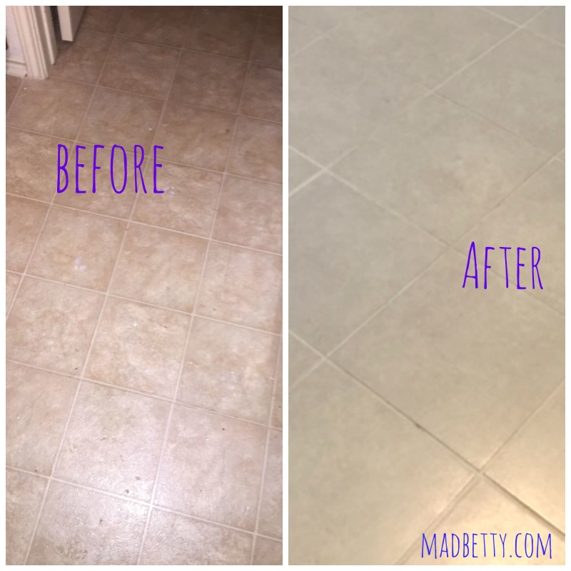 Laminate floor before, Tile floor after