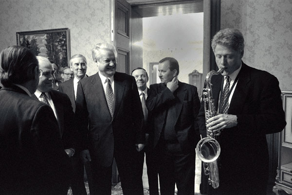 BIll Clinton playing saxophone for Boris Yeltsin