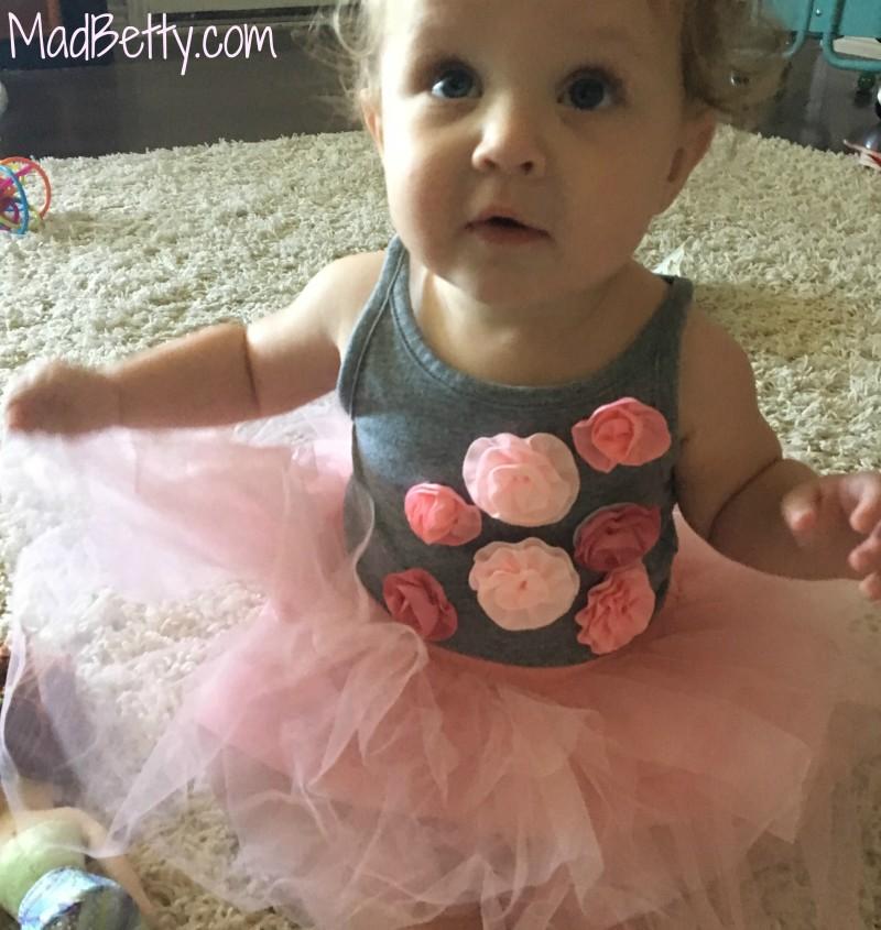 Baby girl wearing pink tutu